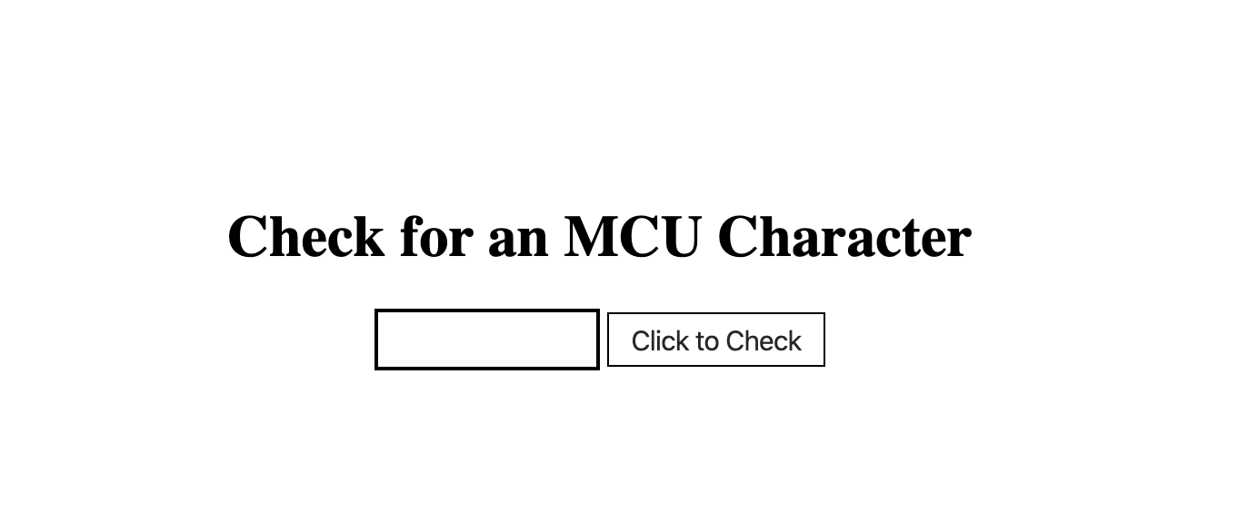 MCU Character Checker landing page